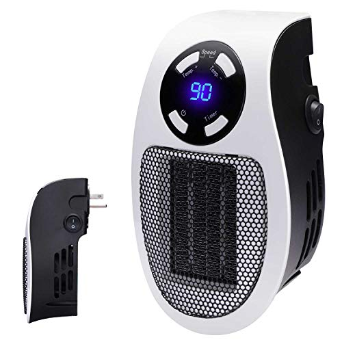Programmable Space Heater with Led Display Wall Outlet Electric Heater with Adjustable Thermostat and Timer for Home Office Indoor Use 350 Watt ETL Listed