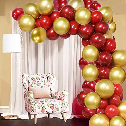 SPECOOL 50pcs Globos Rojos y Dorados, 2020 Decoraciones de Fiesta de Nochevieja Globos Rojos rubíes y Globos metálicos Dorados para cumpleaños, Bodas, Decoraciones de Fiesta de Borgoña