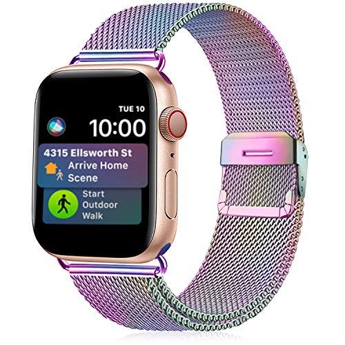 Funbiz Metallo Cinturino Compatible con Apple Watch 38mm 40mm 42mm 44mm, Bracciale di Ricambio Traspirante in Acciaio Inossidabile Compatibile con iWatch Series SE 6 5 4 3 2 1, 42mm/44mm-Colorato