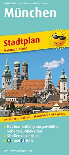 Innenstadtplan München 1 : 15 000: Radtour entlang ausgewählter Sehenswürdigkeiten mit Straßenverzeichnis, S- und U-Bahnnetz, wetterfest, reißfest, abwischbar, GPS-genau. 1:15000