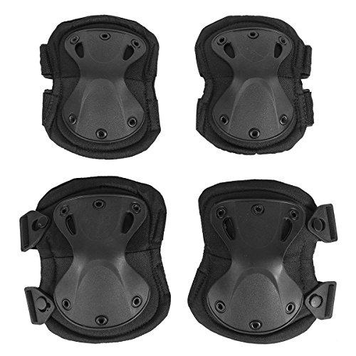 Herren Motorradprotektor, Knieschoner / Ellenbogenschoner Armor, 4 Stk Set (schwarz)