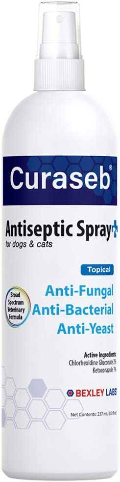 BEXLEY LABS Curaseb Medicated Chlorhexidine Spray for Dogs & Cats,...