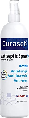 BEXLEY LABS Curaseb Medicated Chlorhexidine Spray for Dogs & Cats, Relieves Yeast Infections, Paw Licking, Hot Spots,...