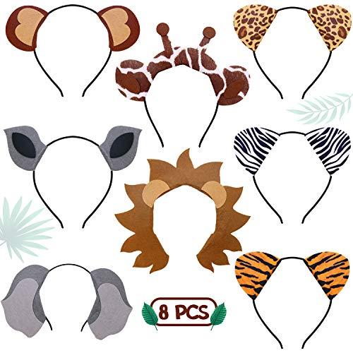 Jungle Safari Zoo Animals Headbands Birthday Party Favor Monkey Rhinoceros Elephant Lion Giraffe Tiger Zebra Leopard Hair Hoop for Kids Adults