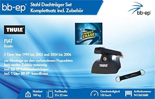BB-EP/Thule 9413653680 Complet Premium de Toit en Acier pour Fiat Scudo 5 Portes Van 1995 à 2003, 2004 à 2006 – Kit Complet verrouillable pour clés et® Insect Erase