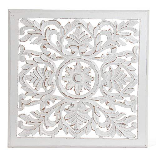 Retablo/Mural de Madera Tallada, para Decoración de Pared, Color Blanco Roto, France, para Salón 40X1,5 X 40 - Hogar y Más