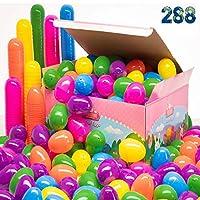 288 Oeufs de Pâques de Qualité dans une Boîte Les Oeufs de Pâques Mesurent 2,5 pouces pour Chaque oeuf Boîte décorée de Pâques à conserver Haute qualité et belles couleurs La meilleure affaire que vous pouvez trouver partout. Seront les propos de vot...