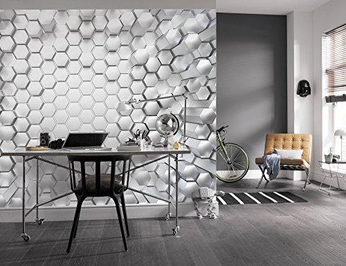 Komar - fotobehang TITANIUM - 368 x 254 cm - behang, muur decoratie, 3D, honingraat, metaal, hexagon, figuur, design - 8-206