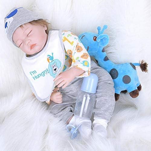 Hongge Reborn Baby Doll,Lebensechte Silikon Wiedergeburt voll Gel Puppe lebensecht Baby Reborn Puppe Kinder Spielzeug Geburtstagsgeschenk 55cm