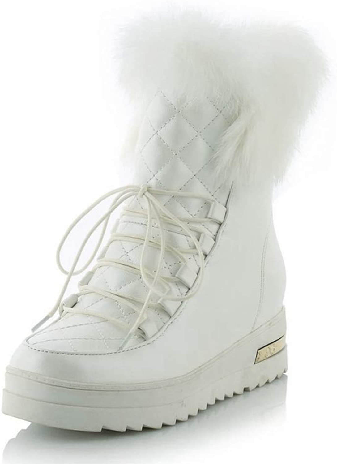 CYBLING Womens Fur Lined Snow Boots Winter Lace Up Waterproof Wedge Ankle Booties shoes