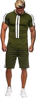 Realdo Big Mens Tracksuit Set,Men`s 2 Pcs Casual Solid Stripe Shirt Shorts Sports Thin Athletic Wear