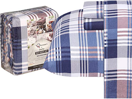 Ruvanti 100% Cotton 4 Pcs Flannel Sheets Queen Balance Plaid Blue & Brown, Deep Pocket, Warm-Super Soft, Breathable Moisture Wicking Flannel Bed Sheet Set Include Flat Sheet,Fitted Sheet 2 Pillowcases