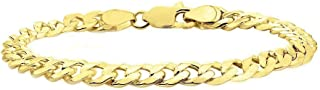 Sterling Silver 14K Gold Plated Italian Curb Cuban Link Chain Bracelet for Men 6.5MM,7.5MM, 8MM - 925 Sterling Silver Bracelet for Men, Silver Cuban Link Chain