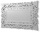 DekoArte VN009 - Espejos Venecianos Modernos De Pared | Espejos Decoración para Tu Salón Dormitorio, Entrada, Recibidor | Espejos Sofisticados Clásicos Color Plata | 1 Pieza 120 x 78 cm