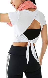 Women's Activewear Cute Workout Crop Top Open Back Sports Shirts Gym Tie Back Tank