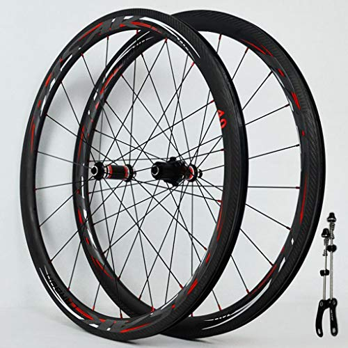 Vacuum Version 700C Road Bike Wheel Set Straight-Pull Front 20/Rear 24 Spokes 4 Bearing C-Brake V-Brake Aluminum Alloy 44/55mm Fat Rim Wheel Set Black Carbon Fiber Hub Drum(A Pair of Wheels)
