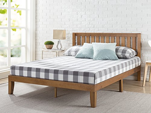 Zinus Alexia 12 Inch Wood Platform Bed with Headboard / No Box Spring Needed / Wood Slat Support / Rustic Pine Finish, Queen
