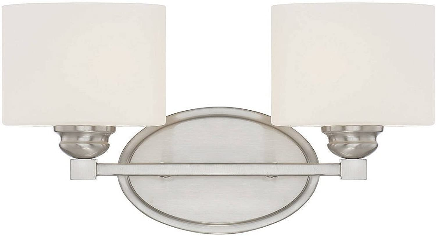 Savoy House 8-890-2-SN 10  Kane 2 Light Bath Bar Transitional Wall Lighting Bathroom Fixture, 100 Watts, Satin Nickel Finish with Metal, Glass Materials