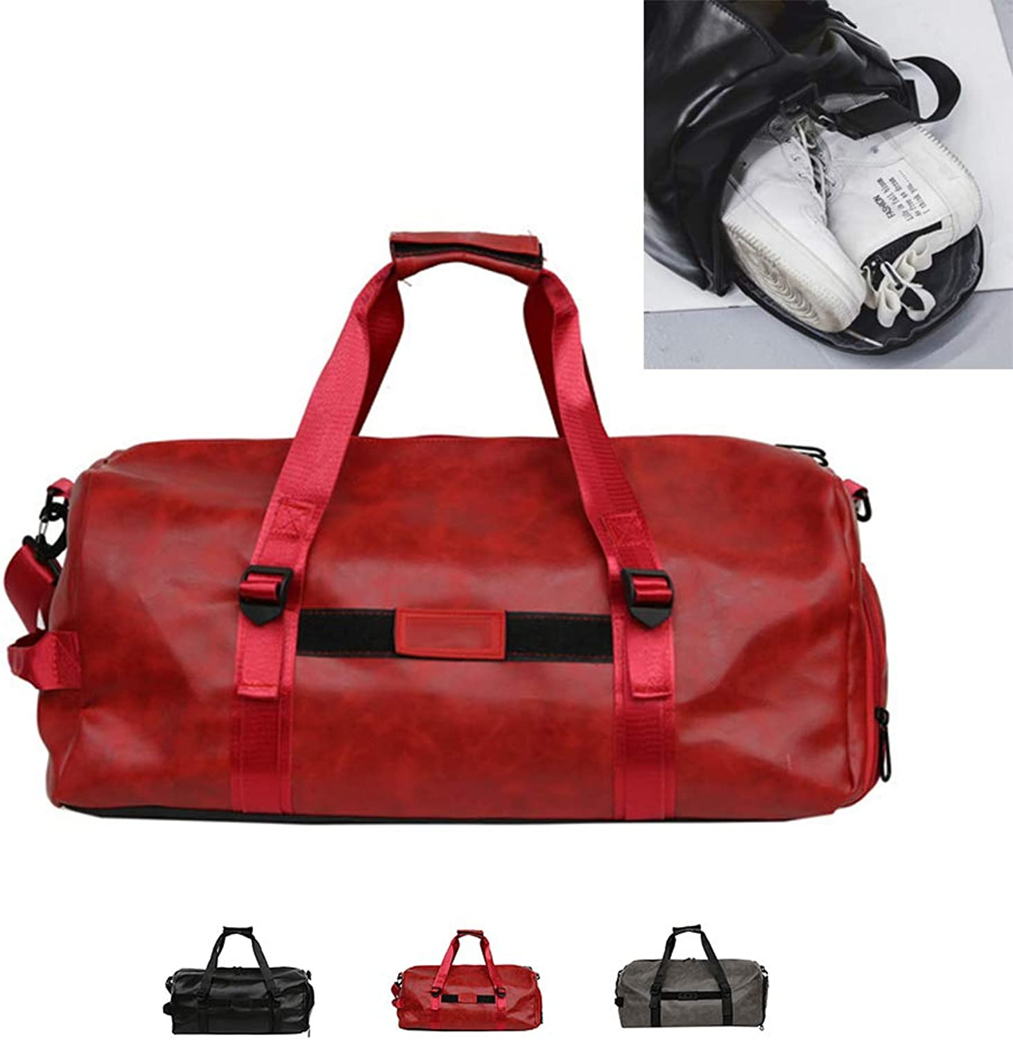 Gym Bag with shoes Compartment, Travel Duffle Sport Bag Training Handbag Shoulder Tote Bag for Men and Women,Red,M