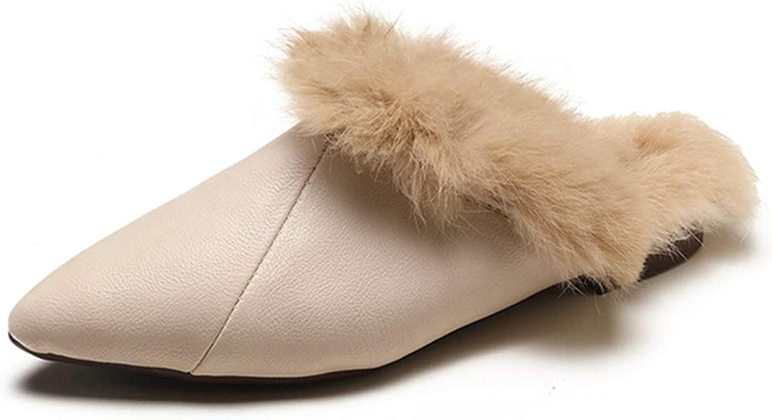 FAY WATERS Women's Faux Fur Slippers Fashion Casual Winter Warm Slip On Solid Pointed Toe Slides Creepers