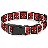 Dog Collar Plastic Clip Spider Man Face Black White Blocks 9 to 15 Inches 0.5 Inch Wide
