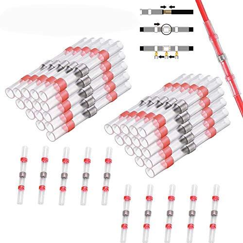 CTRICALVER juntas de alambre soldadas y selladas, 40 juntas a tope termocontraíbles a prueba de agua, terminales de cable, juntas a tope con aislamiento marino (rojo)