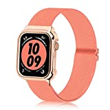 Bandiction Nylon Band Compatible with Apple Watch Bands 38mm 40mm 42mm 44mm, iwatch bands with Protective Case,Adjustable Stretches Women Men apple watch band for iWatch Series SE/ 6/5/4