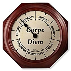 """DayClocks Classic Carpe Diem Clock – Day of The Week Clock – Day to Day Clock with Noon & Midnight Markers – 9.5"""" Mahogany Wall Clock"""