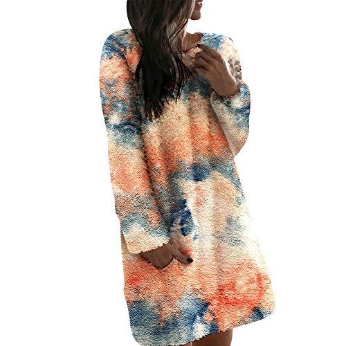 Frauen Winter Warme Nachthemd Hauskleid kuscheliges Nachtkleid Kuschelkleid Loose Beiläufig Nachtwäsche Kleid für Damen und Mädchen (Orange/Tie dye Print, M)