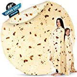 Zulay (80-Inch) Giant Burrito Blanket Double Sided - Novelty Big Burrito Blanket for Adult and Kids - Premium Soft Flannel Round Burrito Tortilla Blanket for Indoors, Outdoors, Travel, Home and More