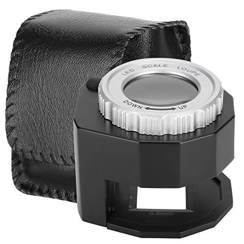 Lupa de metal 30X, lupa de luz UV LED con escala, lente...