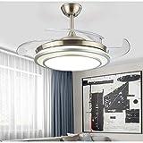 Qinmo Luces de ventilador de techo, techo moderna Invisible Light ventilador de 42 pulgadas Control de pared simple lámpara de la sala de estar Ventilador de la lámpara de la luz eléctrica del ventila