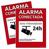 Carteles Alarma conectada disuasorio Zona vigilada 24h Color Rojo 24 Horas videovigilada vigilada disuasorios. Varios tamaños disponibles y tipos de carteles rígidos o pegatinas (2 PVC Rígido, A5)