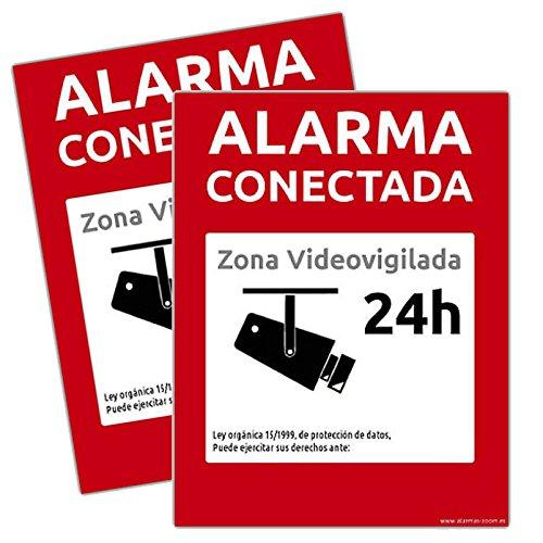 Cartel-Pegatina Alarma conectada disuasorio Zona vigilada 24h Color Rojo 24 Horas videovigilada disuasorios… (2 PVC Rígido, A5)