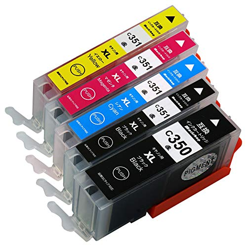 Morishop インクカートリッジ BCI-351XL (BK/C/M/Y)+ BCI-350XL PGBK(顔料) 【5色マルチパック/大容量】キャノン用 純互換インクカートリッジ 残量表示対応 最新ICチップ 対応機種: PIXUS MG7530F MG7530 MG7130 MG6730 MG6530 MG6330 MG5630 MG5530 MG5430 MX923 iP8730 iP7230 iX6830 BCI-351+350/5MP 【商品1年保証】morishop製