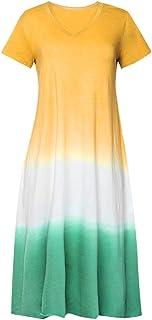 Womens Dresses Tie-Dyed Color Block Long Dress Casual Loose V Neck Short Sleeve Maxi Dress Plus Size S-5XL Chaofanjiancai