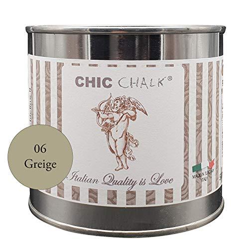 Chic Chalk - 500 ml GREIGE - Pittura gessosa super opaca. Aderisce su tutte le superfici senza primer o carteggio. Ideale per ottenere mobili in stile Shabby e non solo.