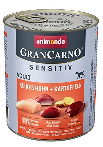 animonda GranCarno Sensitiv Adult cibo per cani, alimento umido per cani adulti, puro pollo + patate, 6 x 800 g