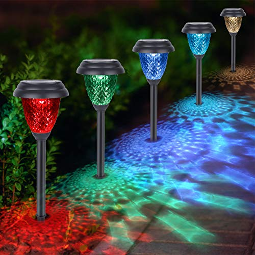 Solar Pathway Lights Outdoor - CIYOYO 8 Pack Warm White & Color Changing Waterproof Landscape Path Lights Solar Powered Decorative Garden Yard Lights for Path Lawn Walkway Patio Driveway, Auto On/Off
