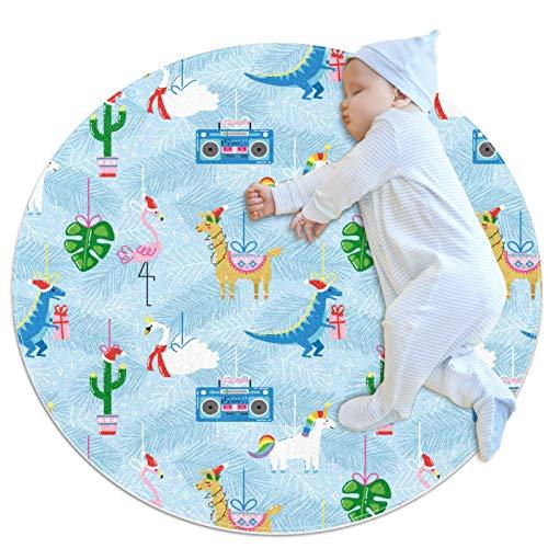 Alfombra Redonda Dinosaurio Flamingo Alpaca Blue Alfombra Redonda decoración Arte Antideslizante niños Lavables a máquin Suave Sala Estar Dormitorio de Juegos para 80x80cm