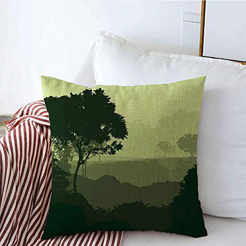 Fundas decorativas para cojines 2D en arbustos Árboles Niebla profunda por ramas Capas Bosque Árbol Naturaleza Parques Madera Conífera Cedro Exterior Funda de Cojine 45 X 45CM