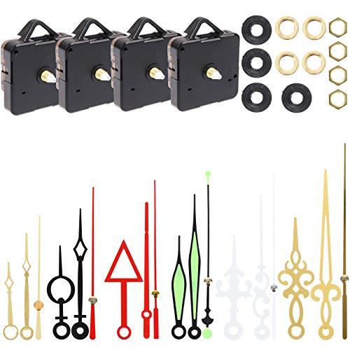TUANTUAN 4 Pack DIY Clock Quartz Mechanism Clock Movement Parts Hands Wall Clock Cross Stitch DIY Repair Parts Kit Replacement with 6 Sets of Hands