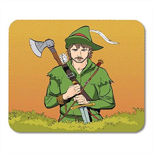 Mauspads Robin Hood im Hut mit Feder Junger Soldat Edler Räuber Verteidiger schwacher mittelalterlicher Legenden Helden Mauspad für Notebooks, Desktop-Computer Mausmatten, Büromaterial