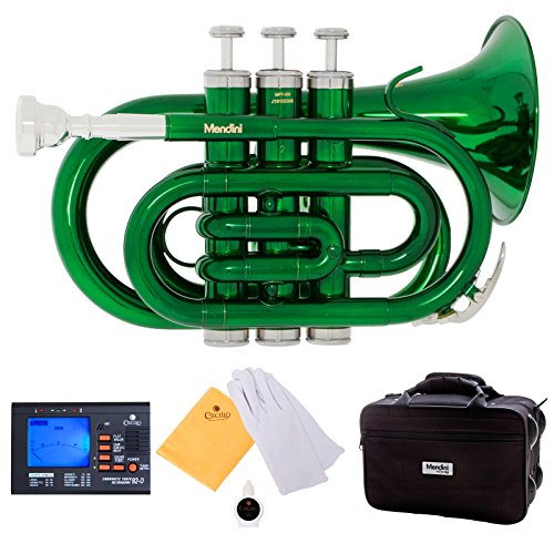 Mendini MPT-GN Green Lacquer Brass Bb Pocket Trumpet with One-Year Warranty, Tuner, Valve Oil and Deluxe Case