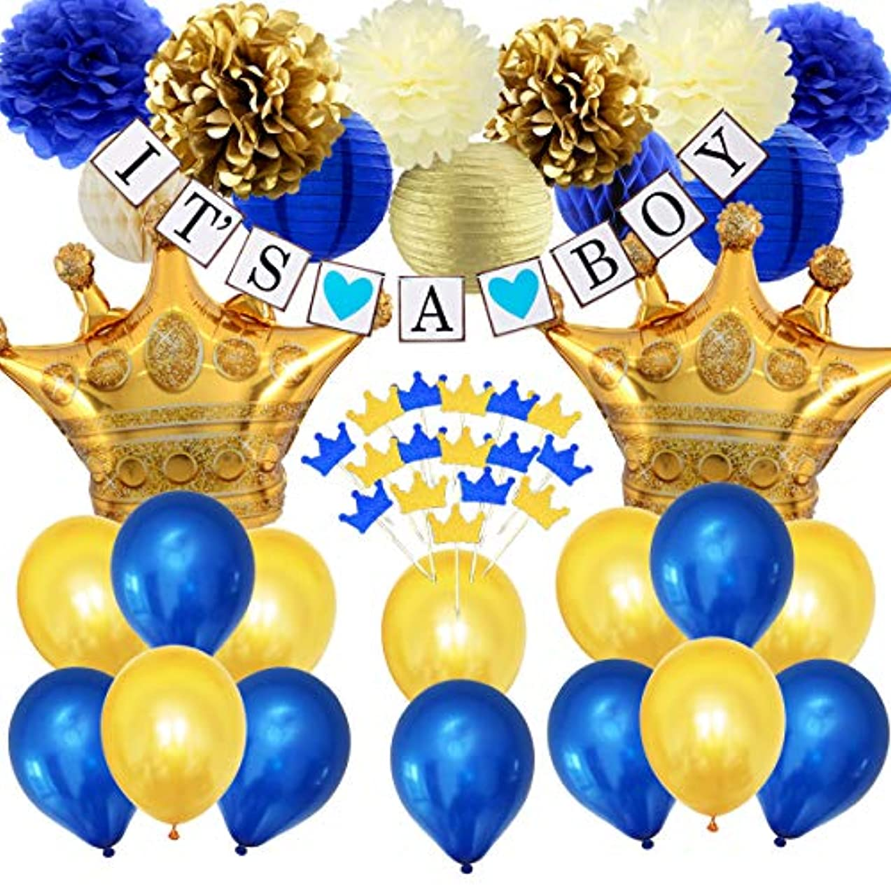 JOYMEMO Navy Blue Baby Shower Decorations Royal Prince Baby Shower for Boy, Navy Gold Cupcake Toppers, Crown Foil Balloons, IT'S A BOY Bunting Banner and Tissue Paper Decor