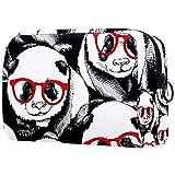 Bolsa para brochas de maquillaje personalizable, bolsa de aseo portátil para mujer, bolso cosmético, organizador de viaje, panda en gafas rojas