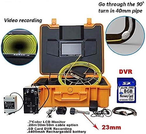 GW Système de caméra d'inspection des égouts 7 Pouces Couleur Moniteur LCD enregistreur DVR cable en Fibre de Verre 4400 Batterie Rechargeable 23mm,20M
