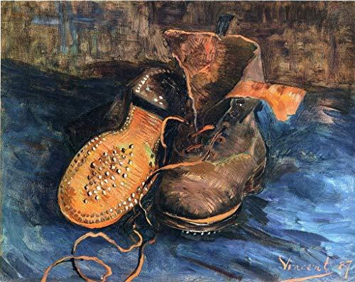 Kbfilj Kit De Pintura Al Óleo para Adultos DIY 「Un Par De Zapatos-1887」【Van Gogh】 para Adultos Principiantes,Creative Pintura sobre Lienzo 40x50cm