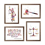Lawyer Office Decor Lady Justice Watercolor Art...