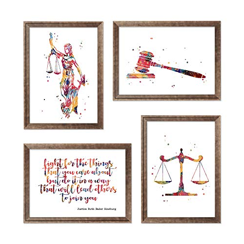 Lawyer Office Decor Lady Justice Watercolor Art Gavel Print Lawyer Office Decor Scales of Justice Wall Art Judge Law Wall Hanging Lawyer Gift